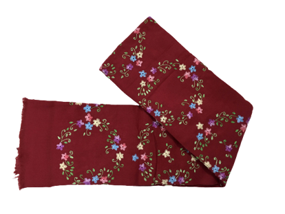 Picture of Small flowers on Marron Woolen Shwal